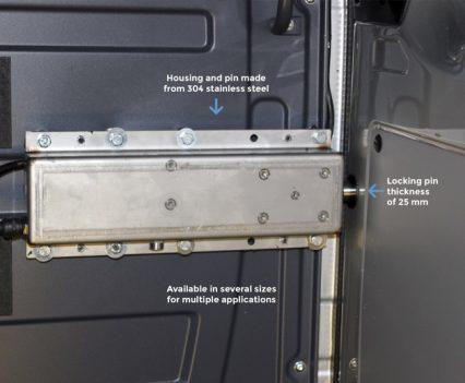 Je beveiligd containers, maar ook laadruimtes en trailers. Dit werkt bij stilstand en tijdens transit